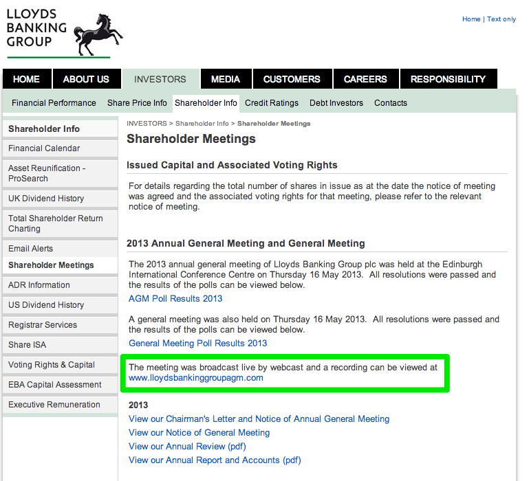 Lloyds - Real-time information: AGM