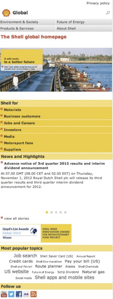 Responsive version of Shell's corporate website